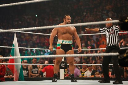 Alexander Rusev gets ready for his fight against Dolph Ziggler at the WWE SummerSlam 2015 at Barclays Center of Brooklyn on Aug. 23, 2015 in New York City.