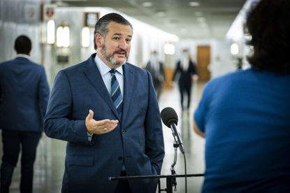 FILE -- Sen. Ted Cruz (R-Texas) speaks to reporters on Capitol Hill in Washington, Oct. 22, 2020. The Texas Republican was once the victim of President Donald Trump's false claims of election fraud -- now he is perpetuating them.