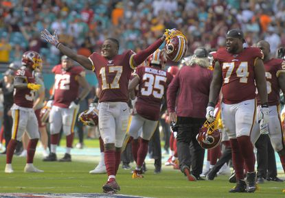 Washington Redskins wide receiver Terry McLaurin celebrates the Miami Dolphins' failed two-point conversion attempt late in the fourth quarter Sunday, Oct. 13, 2019.