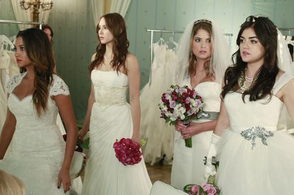 """L-R: Shay Mitchell, Troian Bellisario, Ashley Benson and Lucy Hale on """"Pretty Little Liars."""""""