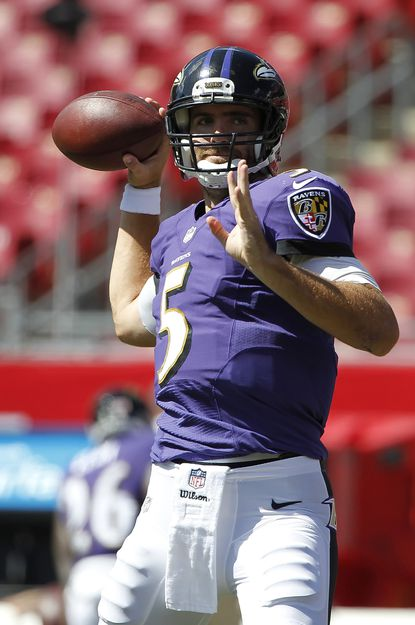 Ravens quarterback Joe Flacco works out prior to the game against the Tampa Bay Buccaneers at Raymond James Stadium.