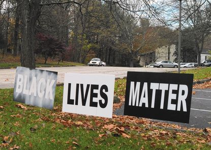 This sign was vandalized on the property of the Towson Unitarian Universalist Church, in Luthervillle-Timonium, on the night of Nov. 8-9.