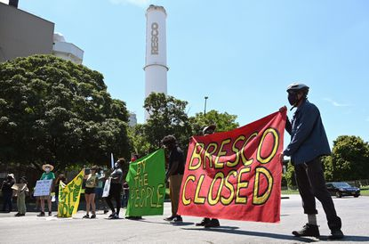 The SB7 Coalition Inc. holds a rally to shutdown the BRESCO trash incinerator and advocate for building a zero waste infrastructure on Wednesday afternoon. They line the entrance to the facility preventing trucks from entering and exiting until organizers agreed to let trucks through. July 29, 2020.