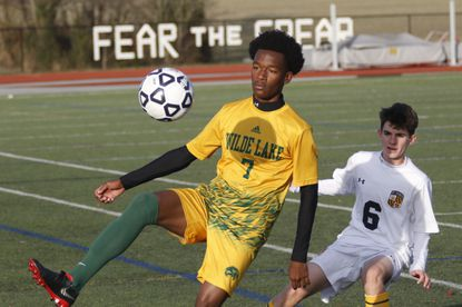 Wilde Lake's Tyriq Umrani, pictured against Mt. Hebron in a Class 3A state semifinal game in November 2019, scored the game-winning goal against Reservoir off a penalty kick on Thursday night in Fulton.