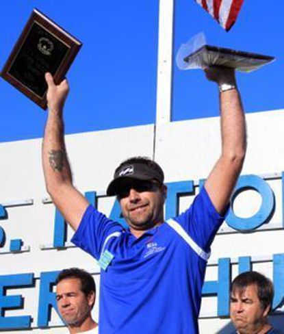 Michael Martin of Panama City Beach, Fla., (shown here winning the 2010 U.S. U.S. National Oyster Shucking Contest) repeated at this year's contest in St. Mary's County.