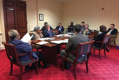 Baltimore County's state senators meet Monday night in Annapolis to vote on bills that would ban campaign contributions to County Council and county executive candidates and to change local liquor laws.