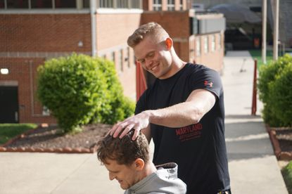 Maryland lacrosse player Mike Roche IV specializes in faceoffs and giving teammates haircuts. Courtesy Mayland Athletics