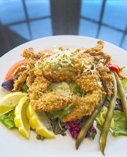 The panko-and-cornflake-encrusted soft shell crab at Boatyard Bar & Grill.