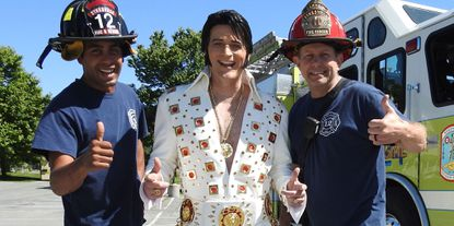 Nevin Smith, Steve Bended (Elvis) and Steve Cherry get ready for a previous Elvis Tribute Night at the Sykesville Freedom District Fire Department. - Original Credit: