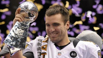 Ravens quarterback Joe Flacco holds the Lombardi Trophy after Super Bowl XLVII in New Orleans.