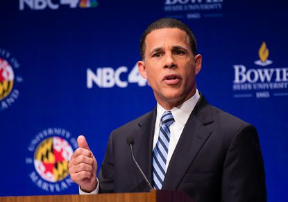Lt. Gov. Anthony G. Brown, pictured here during Wednesday's debate, hired his own makeup artist for the event. Del. Heather Mizeur and Attorney General Douglas Gansler leaned on NBC's makeup crew.