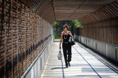 Jamie McLean, 39, of Oakland Mills, walks over the U.S. 29 bridge on the path that winds around Lake Kittamaqundi on her way to work.