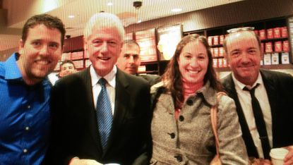 Craig White in the blue shirt, Bill Clinton second from left, White's fiancé Alison Schlenger and Kevin Spacey.