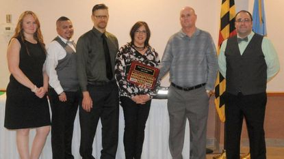 From left, Ashley Schweers, Ryan Pennington, Thomas Parks, Valerie Glassman, Paul Armstrong and Joseph Gamatoria of the Havre de Grace Ambulance Corps were honored at the company banquet Saturday for their roles during a mass casualty incident when a bus crashed on I-95 last May.