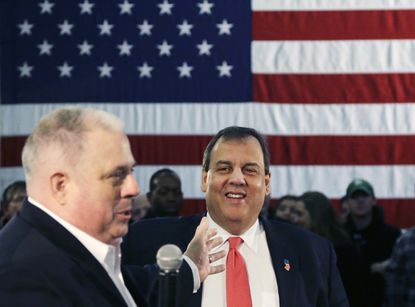 New Jersey Gov. Chris Christie smiles as he is introduced by Maryland Gov. Larry Hogan at a town hall-style campaign event on Monday, Feb. 8, 2016, in Hudson, N.H.