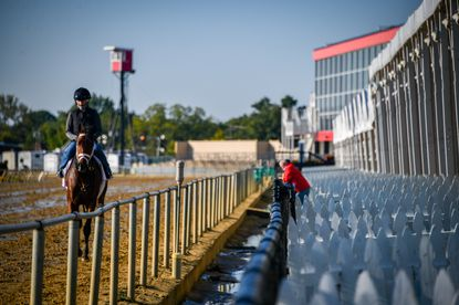 Small tents have been set up on the apron in front of the grandstands at Pimlico Race Track in to aid social distancing for the few people who were allowed to attend Saturday's Preakness Stakes.