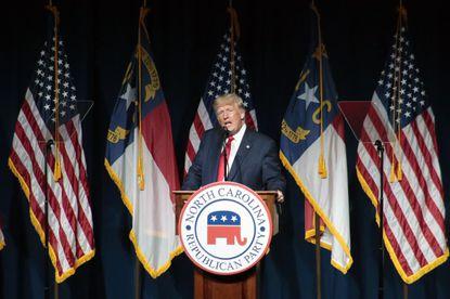 Former President Donald Trump speaks at the North Carolina Republican Convention Saturday, June 5, 2021, in Greenville, N.C. (AP Photo/Chris Seward)