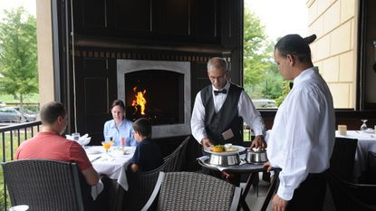 Guests of the Ananda restaurant can watch the sun set over Maple Lawn and enjoy the scenery of the changing seasons.