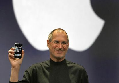 Apple chief executive Steve Jobs unveiled the original iPhone on Jan. 9, 2007, at a Macworld Conference in San Francisco. The smartphone boasted Internet capability and an MP3 player, and featured a two megapixel digital camera.