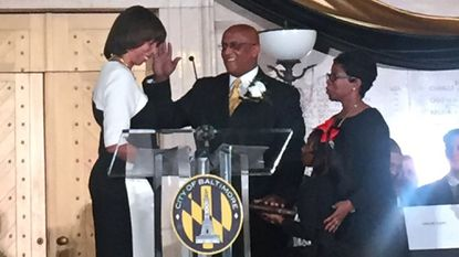 "Baltimore Mayor Catherine E. Pugh, left, swears in City Council President Bernard C. ""Jack"" Young."