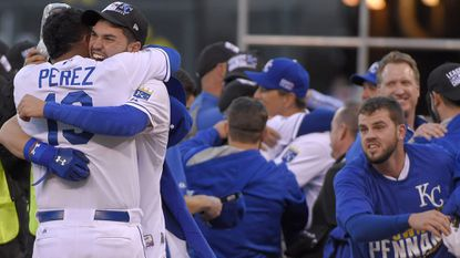 The Kansas City Royals celebrate after sweeping the Orioles in the ALCS.