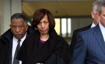 Former Baltimore Mayor Catherine Pugh, who is awaiting sentencing on federal conspiracy and tax evasion charges, still has nearly $1 million in her campaign account, according to the latest finance report. In this Nov. 21, 2019, photo, Pugh leaves the federal courthouse in Baltimore.
