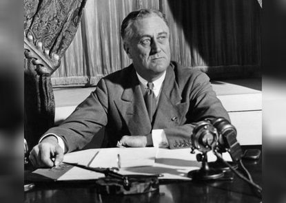 """Elected during the Great Depression, Franklin Delano Roosevelt told Americans that """"the only thing we have to fear is fear itself."""" He served four terms and created the New Deal to help businesses and farms recover and a work relief program. He signed Social Security into law and put in place new controls over banks. He also contracted polio when he was 39 and afterward used a wheelchair, although he hid it from the public."""