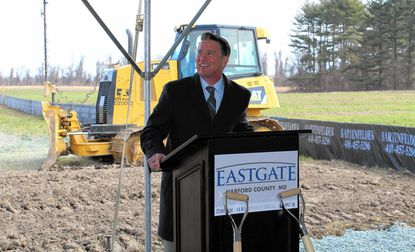 Harford County Executive Barry Glassman speaks during Tuesday's groundbreaking for the Eastgate industrial/warehouse project in Perryman.