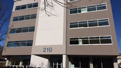 A commercial office building at 210 Allegheny Ave. on Feb. 5. The building has undergone a face-lift. Its first tenant will be a division of Stanley Black & Decker.