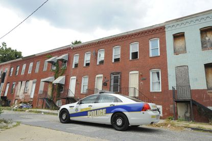 A Baltimore City police car in the 1500 block of Traction Street.