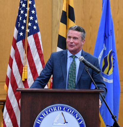 Harford County Executive Barry Glassman delivers his State of the County Address Tuesday evening in the Harford County Council chamber in Bel Air.