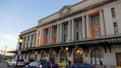 Exterior view of Baltimore's Pennsylvania Station.