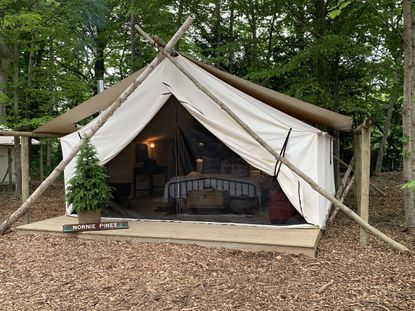 Michigan's new glamping site, The Fields, has 10 canvas tents filled with all the creature comforts, like a bathroom and a king-size bed.