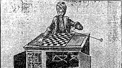 "A drawing of ""The Great Chess Automaton"" that appeared in The Sun on Oct. 16, 1927."