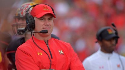 Maryland coach DJ Durkin looks on during the Terps' home opener against Towson.