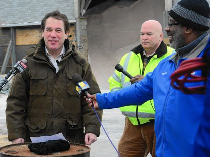 Baltimore County Executive Kevin Kamenetz addresses reporters at a media event Jan. 22 at a public works facility in Towson.
