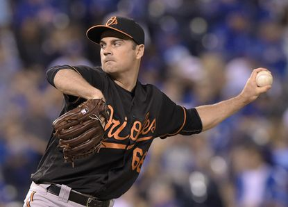 Orioles pitcher T.J. McFarland throws in the fourth inning against the Kansas City Royals at Kauffman Stadium in Kansas City, Mo., on Friday, April 22, 2016.