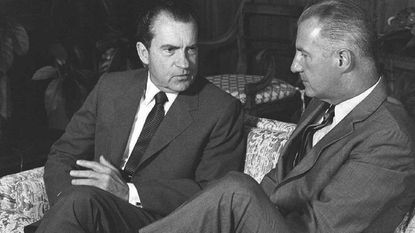 President Richard Nixon talks with Vice President Spiro T. Agnew at the Western White House in San Clemente, Calif., on June 25, 1969.
