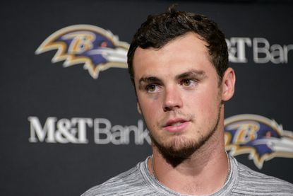 Ravens quarterback Trace McSorley speaks with reporters after a preseason game in Philadelphia.