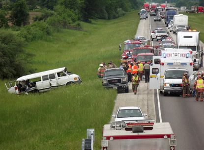 Eastbound traffic on Interstate 70 just west of Vandalia, Ill., came to a standstill Monday morning as emergency crews responded to a fatal accident involving a church van.