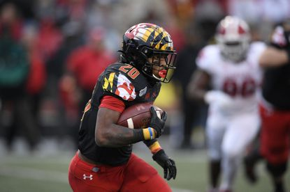 Maryland running back Javon Leake (20) runs with the ball during the second half of an NCAA football game against Indiana, Saturday, Oct. 19, 2019, in College Park, Md. Indiana won 34-28. (AP Photo/Nick Wass)