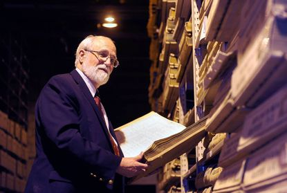 This is Edward C. Papenfuse, Ph.D., State Archivist for Maryland, who is retiring today after 40 years of service. He is photographed at the Baltimore City Archives, which shares space with some of the Maryland State archives.