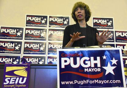 Sen. Catherine E. Pugh campaigns for mayor.