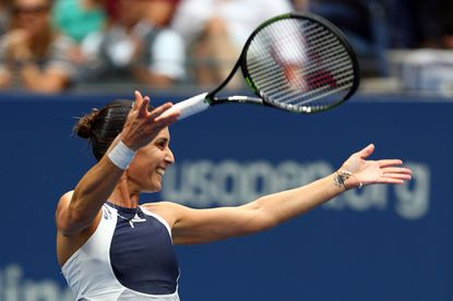 Flavia Pennetta celebrates after defeating Roberta Vinci of Italy in the U.S. Open women's final.