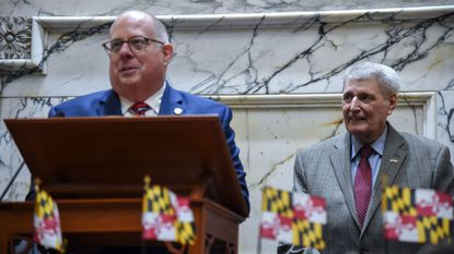 The General Assembly took swift action Thursday to override Gov. Larry Hogan's veto of a bill that will gradually increase the state's minimum wage to $15 per hour. Hogan is shown in this Jan. 9, 2019, file photo, left, with House Speaker Michael Busch, right.