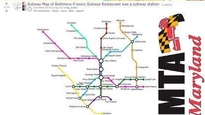 Reddit user 1map_dude1 created this map that replaces Baltimore's ubiquitous Subway restaurants with subway stations.