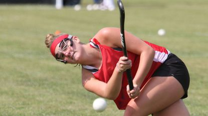 Francis Scott Key junior Suzanne Edwards strikes the ball during a recent field hockey practice. The Eagles will be going after their first regional title since 1994.