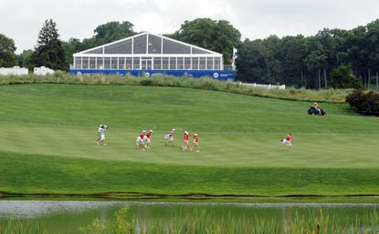 In this file photo, golfers participate in the LPGA International Golf Tournament at Caves Valley Golf Club. On Sunday, President Obama played golf at the facility.