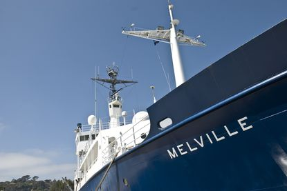 The Melville, docked in San Diego, will open to the public for a half-day tour on Feb. 21. The research ship used by the Scripps Institution of Oceanography will be retired this year.