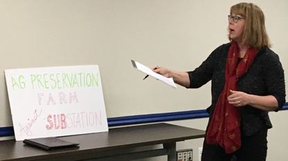 Deborah Jones, of Street, expresses her concerns about a Delmarva Power substation being built next to her family's farm. She spoke during a Harford County Development Advisory Committee meeting in Bel Air Wednesday.